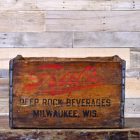 Vintage Wood Crate, Graf's Crate, Milwaukee Wisconsin, Rustic Christmas Decor