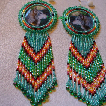 Native American Style Rosette beaded Wolf earrings in Seafoam Green