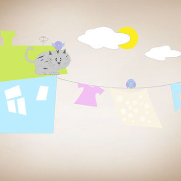 Graphic Wall Vinyl Decal Sticker Cat on the Roof #MM113