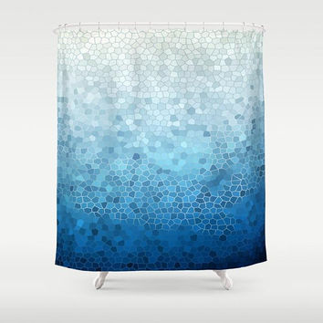 Blue Ombre Mosaic Shower Curtain, fabric  Blue teal, coastal, industrial chic