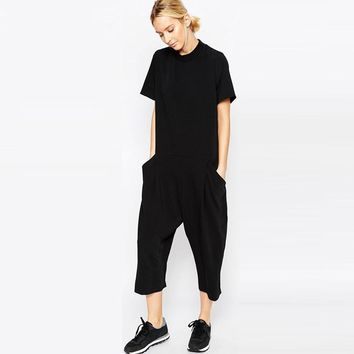 new black loose rompers womens jumpsuit seven big jumpsuit side pocket loose-fitting jumpsuits romper overalls for women
