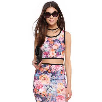 Purple Floral Print Sleeveless Cropped Top with Zipper