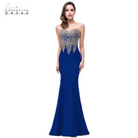 Mermaid New Royal Blue Long Evening Dress 2017 Robe De Soiree Longue Formal Party Evening Gown
