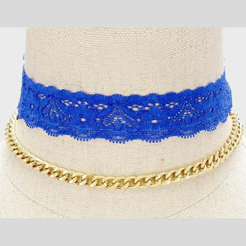 Royal Blue Lace Choker and Gold Chain Choker Set