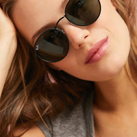 Ray-Ban Round Leather-Trimmed Sunglasses