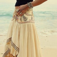 Bohemian Print Elastic Waist Irregular Long Beach Skirt