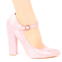Retro Shoes & Pumps | Flirty & Feminine Mauve Pink Block Heel High Heel Mary Jane Shoes