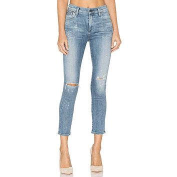 Rocket, High Rise Skinny Crop- Distressed Fizzle