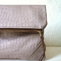 Vegan Clutch, handbag,  fold over clutch, Faux Crocodile in light taupe color, minimal desing, Ready To Ship.