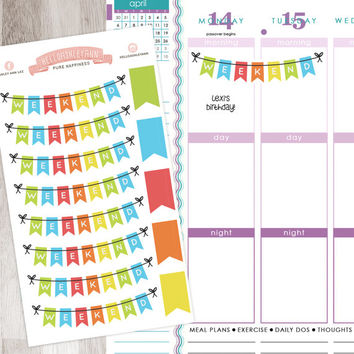 13 Piece Bunting Sticker Kit Full Sheet | Weekend Rainbow Colors