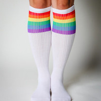 White with Rainbow Stripe Knee High Socks