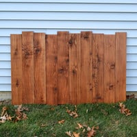 Staggered Reclaimed Wood Headboard / Wall Art - Antique Walnut