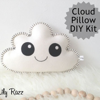 Cloud Pillow DIY KIT, White Cloud Sewing Kit, Make your own cloud pillow