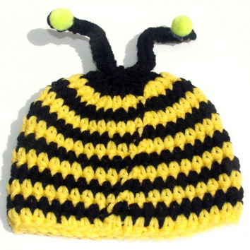 Bumble Bee Beanie 0-3 Months,Crocheted Yellow and Black baby hat,photo prop,gift,or accessory,Ready to Ship Crocheted by GSS~BEAUTY