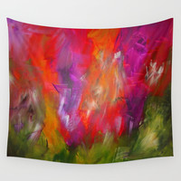 Flower Garden Wall Tapestry by Jenartanddesign