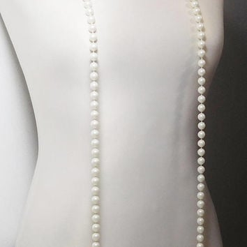 Super Long Necklace, Roaring 20s Style, Flapper Jewelry, 62 Inches Long, Off White Beads, Hand Knotted, Faux Pearls, Plastic Beads, Pearl