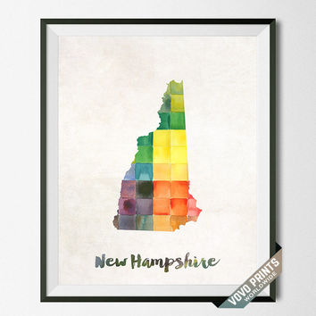 New Hampshire, Map, Print, Concord, Manchester, USA, Poster, Watercolor, Painting, Home Town, Dorm room, States, Decor, Watercolour [NO 29]