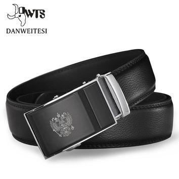 [DWTS]Men Belt Russian National Emblem 100% Genuine Leather Belts Automatic Belts For Men Luxury Brand Belt ceinture homme