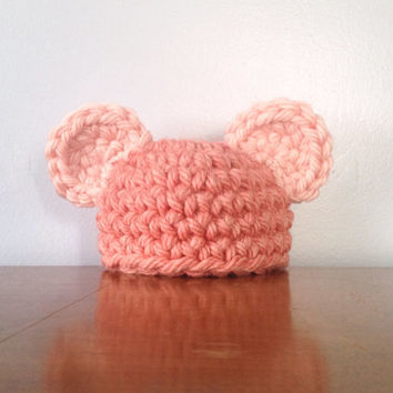 Crochet Newborn Bear Hat - Two Toned Pink Hat - Baby Girl Gift - Newborn Girl Beanie - Baby Bear Hat - Newborn Mouse Hat - Baby Shower Gift