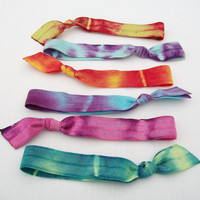 6 Tie Dye Hair Ties - Boho Tye Dye - AS SEEN at TAGG Fashion Blog