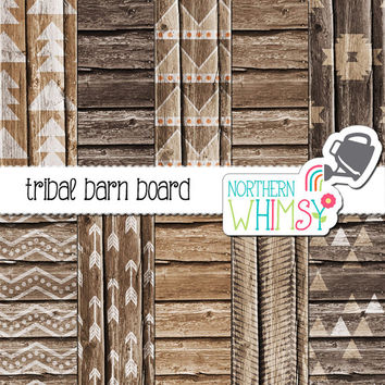 Tribal Wood Digital Paper Pack – brown barn board papers with geometric ethnic patterns – tribal digital paper - commercial use
