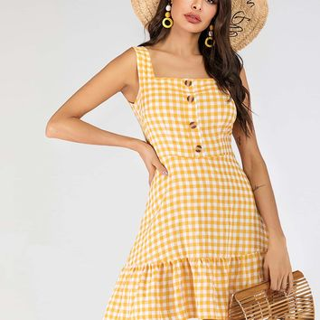 Button Front Ruffle Hem Gingham Straps Dress