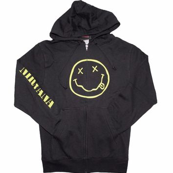 Nirvana Smile Discharge Zip Hoodie Sweatshirt