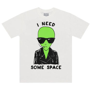 I Need Some Space T-Shirt, 90s Motorcycle Biker Jacket Smoking Alien Wearing Sunglasses Shirt, Unisex Cotton Tee Shirt by Burger and Friends
