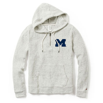 League Collegiate Outfitters University of Michigan Women's Natural Founder Fleece 1/4 Zip Hooded Sweatshirt
