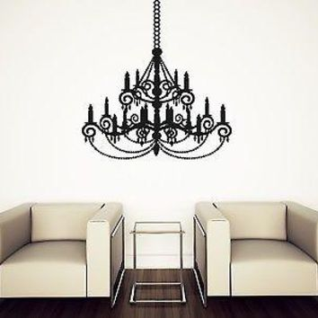 Wall Vinyl Sticker Decal Beautiful Chandelier Light Chain Tassels Unique Gift (n283)