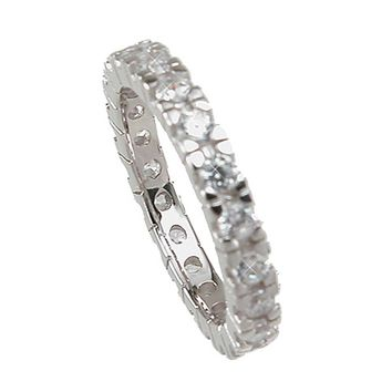 Plutus Brands 925 Sterling Silver Eternity Wedding Band 1 Carat Weight- Size 7
