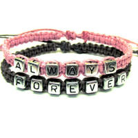 Forever Always Couples Bracelet Set, Jewelry for Couples, Pink and Dark Brown Macrame Hemp Bracelets