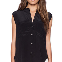 Feel the Piece Dorienne Button Up Tank in Black