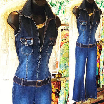 Vintage denim jumpsuit / zip front jumpsuit