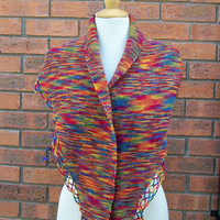 Handknitt Colouful Women Shawlette, Women Shawl, Wool Neckwarmer