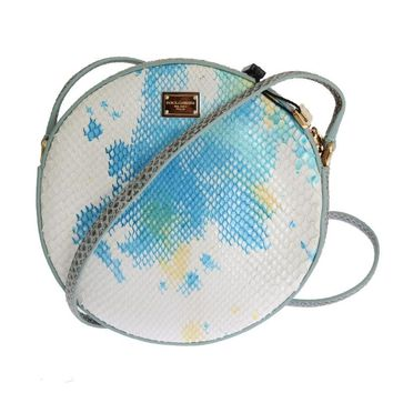 Blue White GLAM Snakeskin Shoulder Clutch Bag