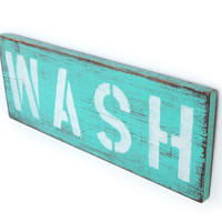 laundry room decor WASH wood sign beachy cottage style - Lt. Turquoise