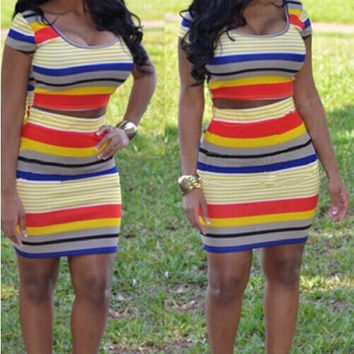 Multi Color Striped Cropped T-shirt and Bodycon Mini Skirt