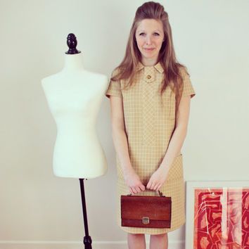 "Vintage 60's ""Mad Men"" style dress, A line; S-M; short sleeves; beige and white; Ranelle Fashions inc."