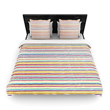"""Kess InHouse 88 by 104"""" Nika Martinez Summer Stripes Woven Duvet Cover, King, Abstract"""