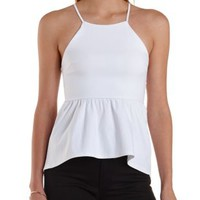 High-Low Racer Front Peplum Top by Charlotte Russe