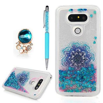 FOR LG G5 Case Printed Flowing Liquid 3D Glitter TPU Silicone Quicksand Case Floating Moving Bling Star Hearts Sparkly Print Clear Shockproof Gel Protective Cover Skin Shell for LG G5 Pink Rose