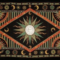 Handmade Cotton Celestial Sun Moon Star Tapestry Spread Twin Green Orange 70x104