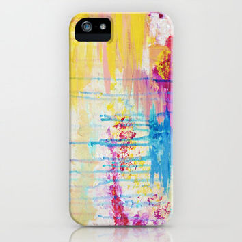 BRIGHTER DAYS - Beautiful Soft Pastel Colours Painting Rain Cloud Sunny Sky Abstract Nature Acrylic iPhone Case by EbiEmporium
