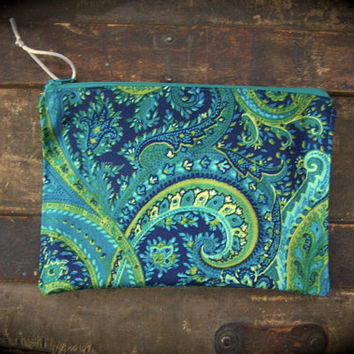 Vibrant Paisley Zipper Pouch Navy/Teal/Green, 5 x 8 Pouch, Makeup Bag, Coupon Pouch