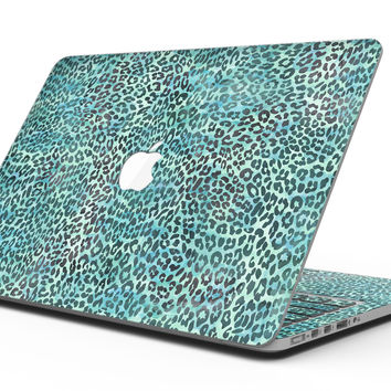 Blue-Green Watercolor Leopard Pattern - MacBook Pro with Retina Display Full-Coverage Skin Kit