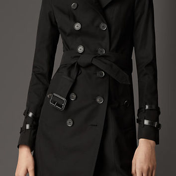 Long Leather Detail Gabardine Trench Coat