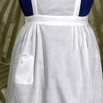 Battenburg Lace White Cotton Apron