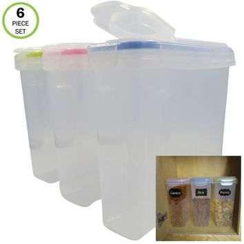 Evelots Food Storage Container-Airtight-Cereal/Sugar-17 Cup-20 Label-6 Piece set