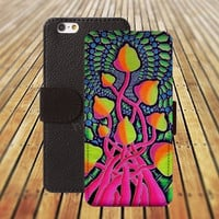 Cartoon  mushroom tree iphone 5/ 5s iphone 4/ 4s iPhone 6 6 Plus iphone 5C Wallet Case , iPhone 5 Case, Cover, Cases colorful pattern L034